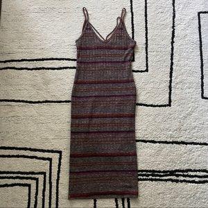 LUSH Gray Orange Stripe Midi Strappy Bodycon Dress